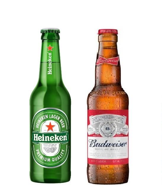 Cerveja Heinecken ou Budweiser 355ml