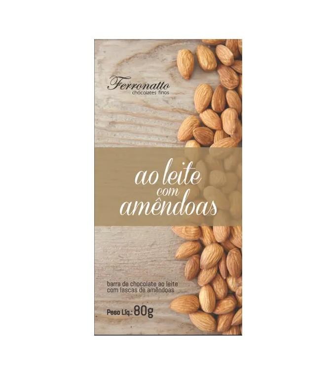 Barra de Chocolate ao Leite com Amêndoas