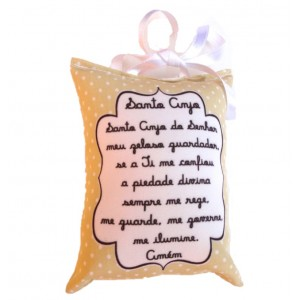 Mini Almofada Santo Anjo - Bege