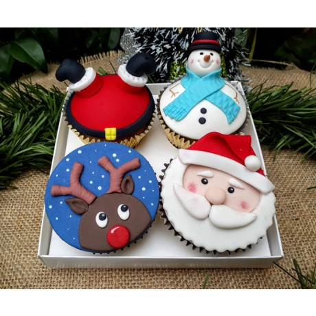 Caixa com 4 Cupcakes Natal