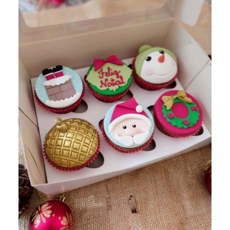 Caixa com 6 cupcakes de natal